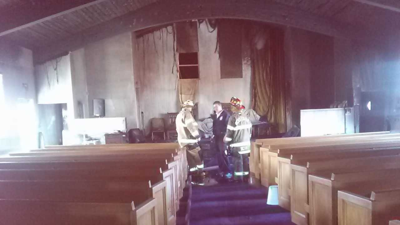 A fire damaged God's Re-Creation Christian Center in McKeesport.