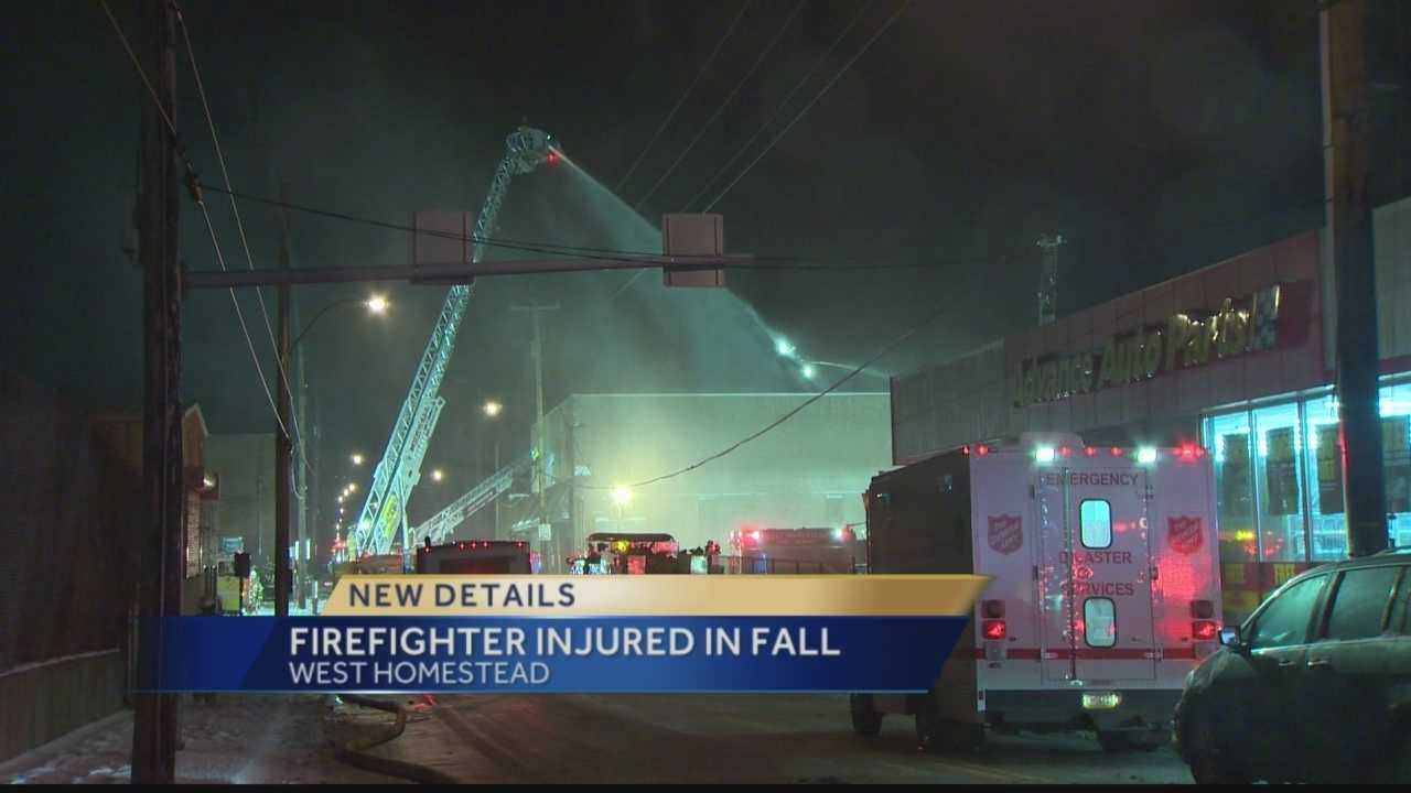 A firefighter was hurt battling a blaze that heavily damaged the Three Rivers Supply building on West Seventh Avenue.