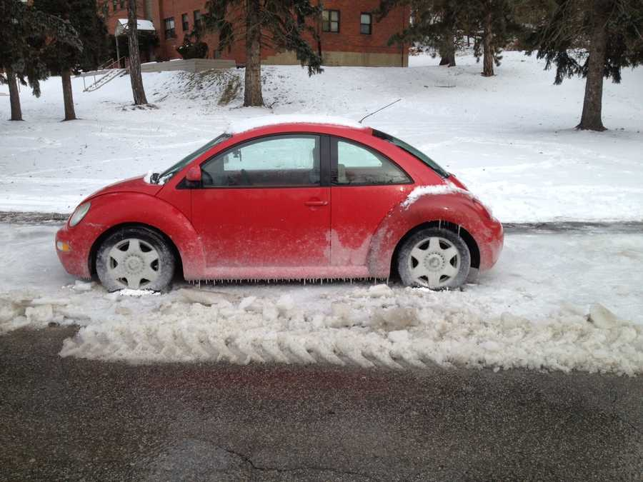 This car is stuck in the ice on Pyramid Avenue in Brentwood.