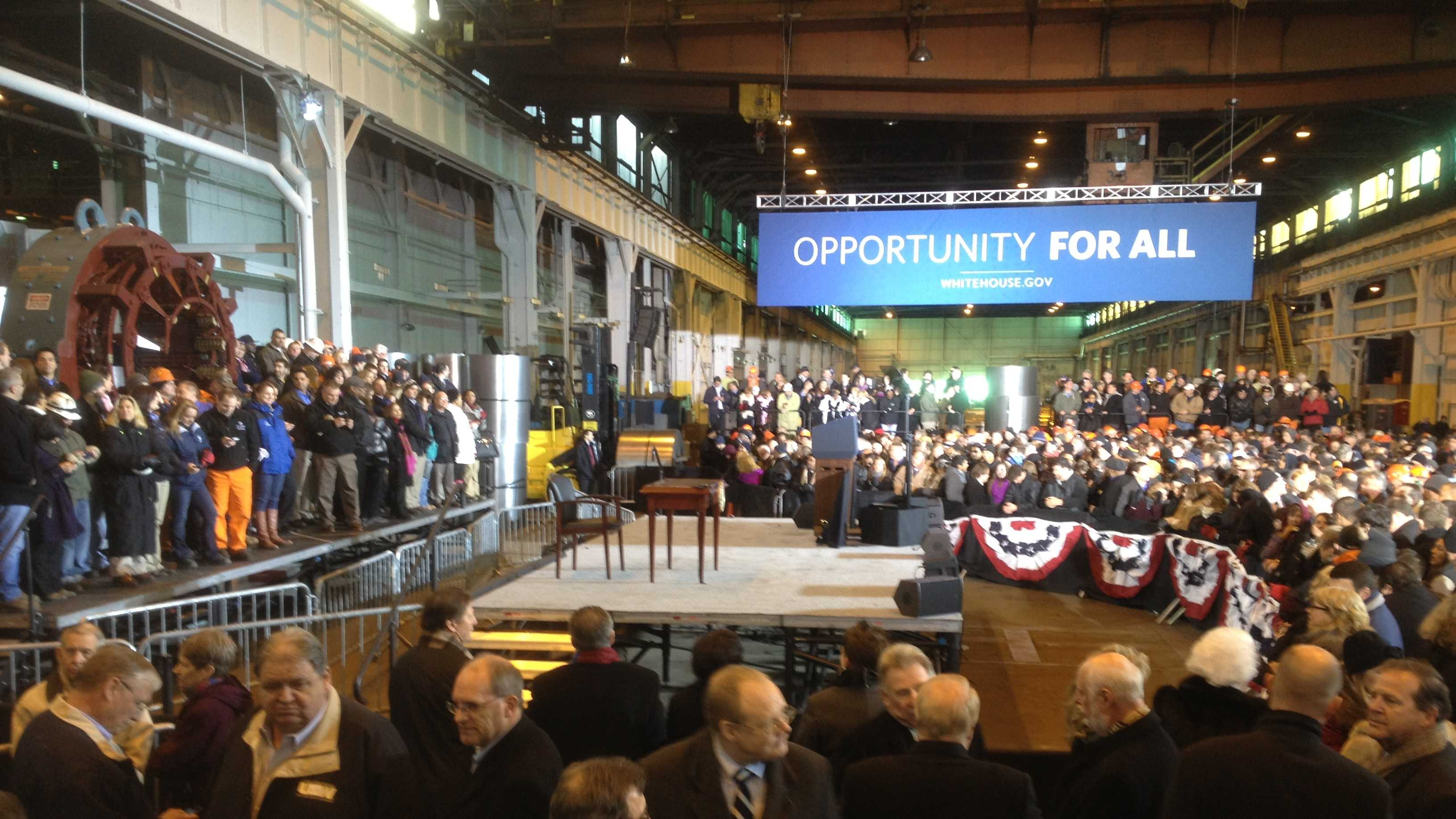 A crowd gathers at the U.S. Steel Irvin Plant to hear President Barack Obama speak.
