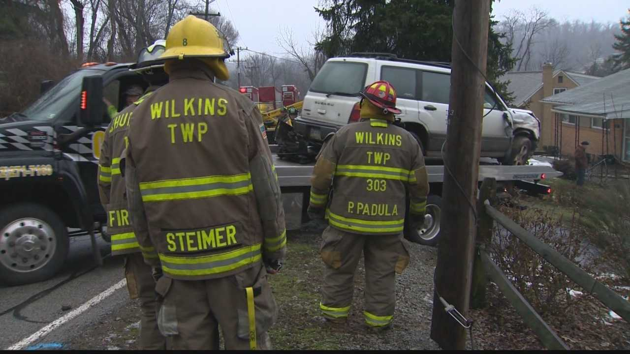 A vehicle went off Old William Penn Highway and hit two houses Sunday in Wilkins Township.