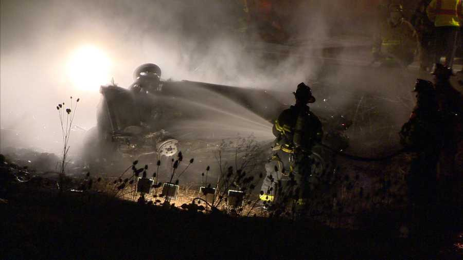 The driver was pronounced dead at the crash scene. He was identified as Stephen Quinn, 26, of Newbury, Mass.