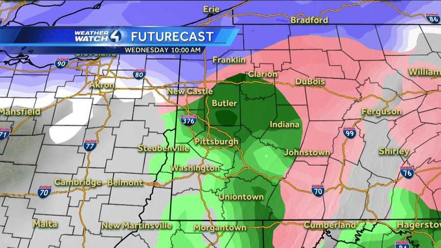 Wednesday 10 a.m. (White represents snow. The deeper the purple, the heavier the snowfall. Pink=ice/sleet/freezing rain. Green=rain. Yellow=heavy rain.)