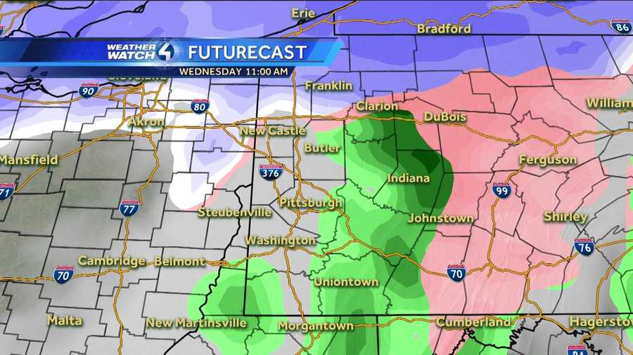 Wednesday 11 a.m. (White represents snow. The deeper the purple, the heavier the snowfall. Pink=ice/sleet/freezing rain. Green=rain. Yellow=heavy rain.)