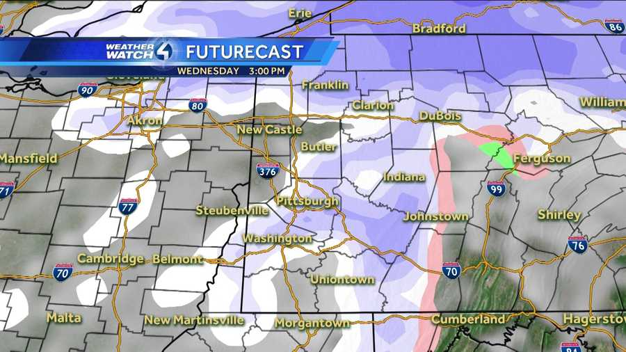 Wednesday 3 p.m. (White represents snow. The deeper the purple, the heavier the snowfall. Pink=ice/sleet/freezing rain. Green=rain. Yellow=heavy rain.)