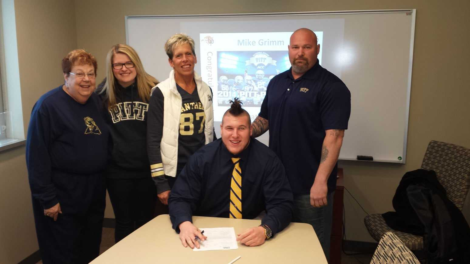 Bethel Park's Mike Grimm signs a National Letter of Intent with the Pitt Panthers on Signing Day