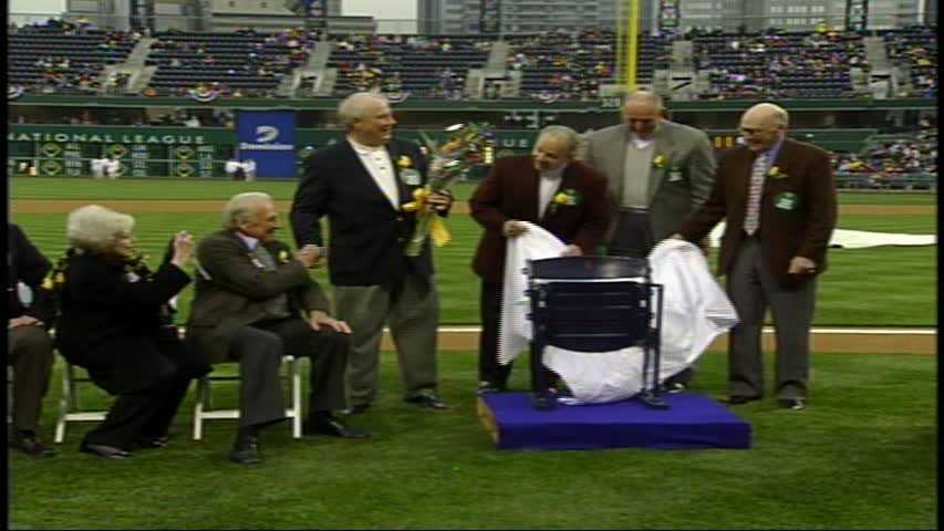 Ralph Kiner was honored on the field before the Pirates' home opener in 2003.