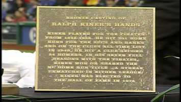 The Pirates posted a plaque that describes the career of Ralph Kiner alongside a bronze casting of the slugger's hands.