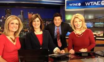 Janelle Hall, Michelle Wright, Steve MacLaughlin and Kelly Frey on National Wear Red Day.