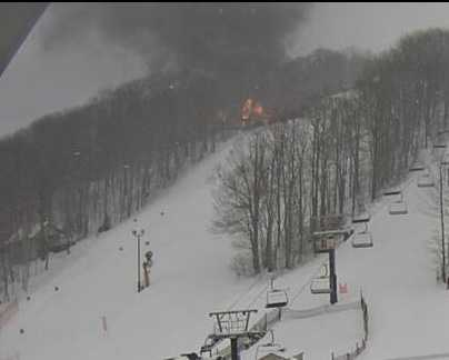 Condo Fire off of Imperial Drive at Hidden Valley Resort in Somerset County photos from a Hidden Valley Resort Web Cam.  (Photo courtesy of Hidden Valley Resort)