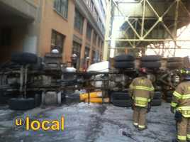 The crash involving a cement truck and a Port Authority bus happened on Second Avenue, below the Boulevard of the Allies.