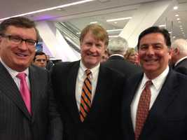 Tom Grealish, executive director of theMario Lemieux Foundation, Allegheny County Executive Rich Fitzgerald and Mayor Bill Peduto