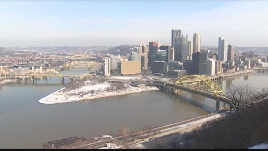 Downtown Pittsburgh, as seen from the West End Overlook.