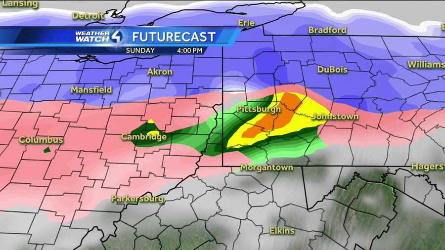Map Color Code: White, Purple, & Grey = Snow | Pink = Sleet & Ice | Green, Yellow, & Red = Rain