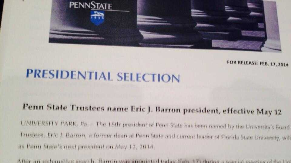 It's Official... Penn State has selected a new president