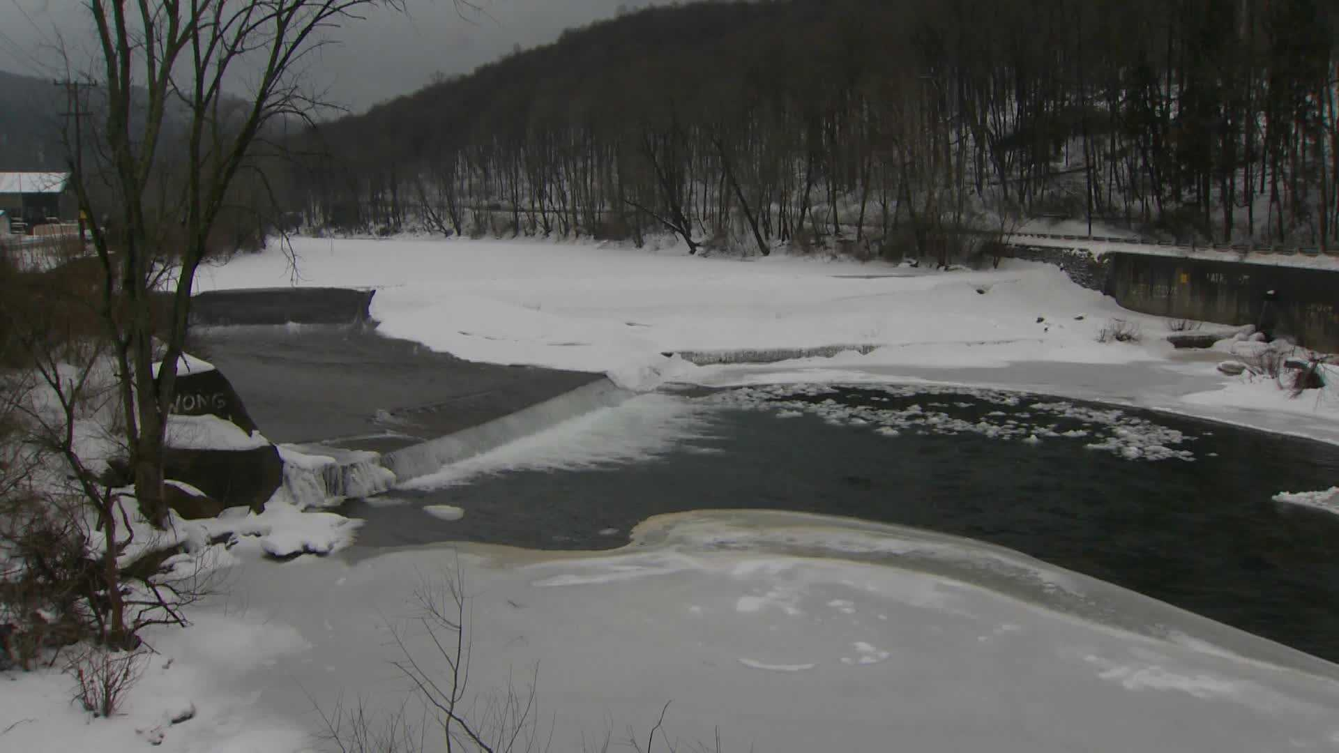 Ice jam on creek