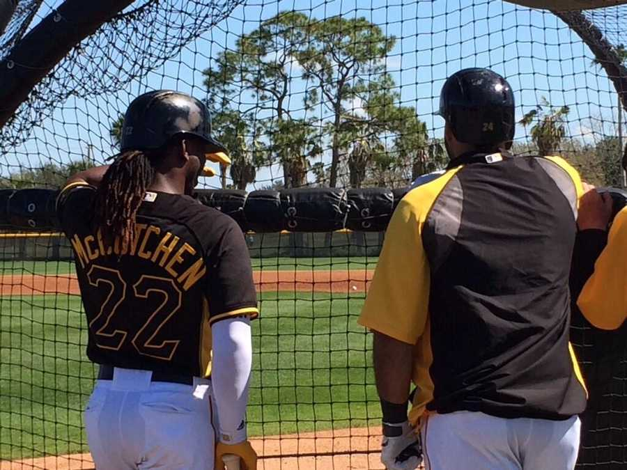 Andrew McCutchen and Pedro Alvarez wait their turn at batting practice