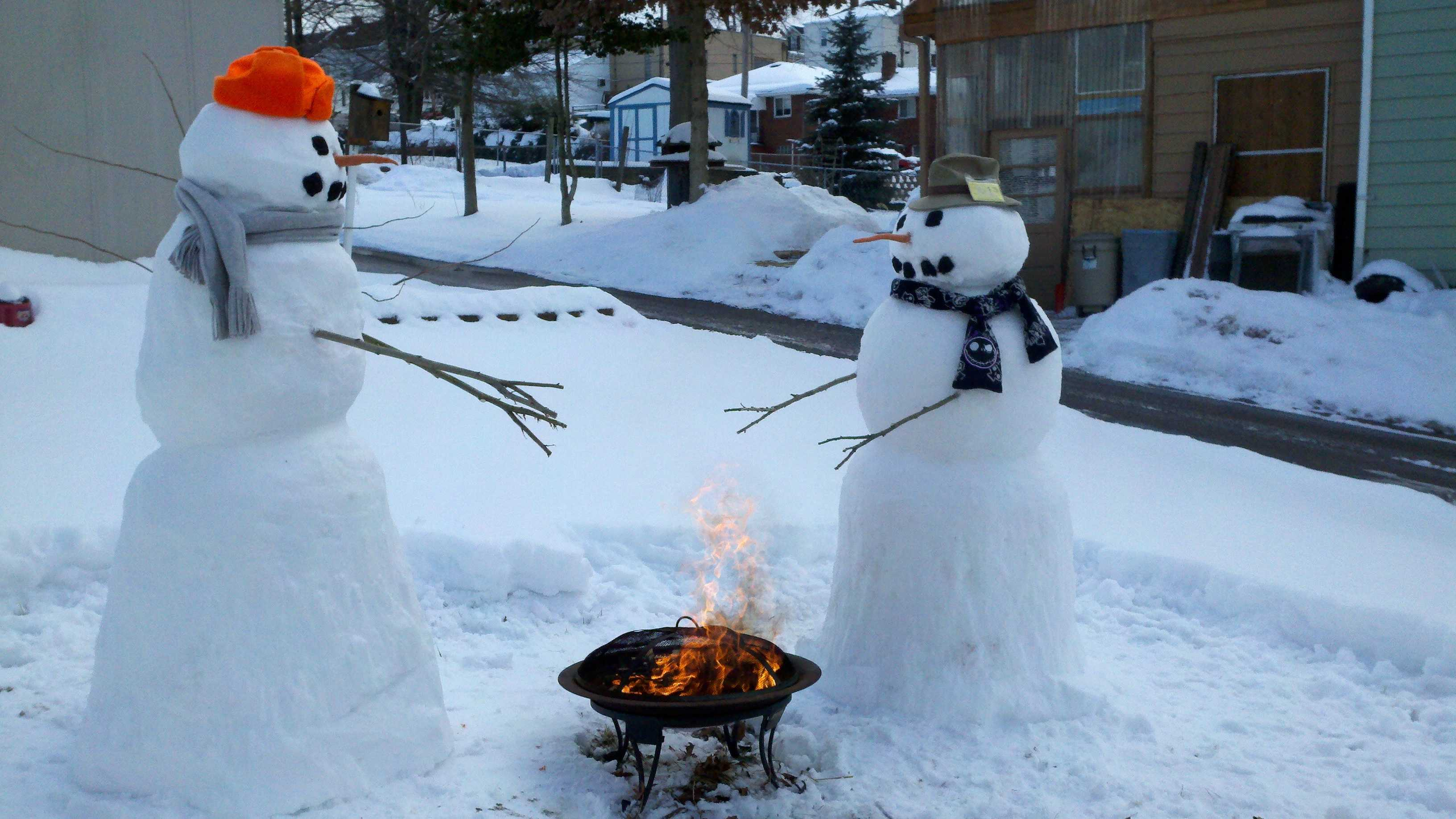 How cold was it? Even snowmen were keeping warm.