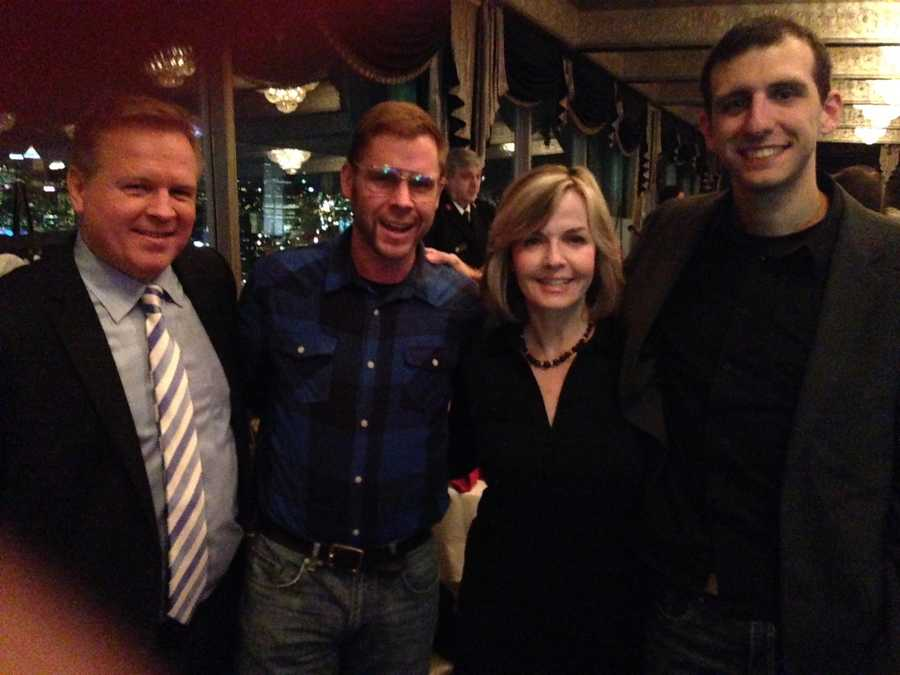 """From left to right: Weather Watch 4 chief meteorologist Mike Harvey, """"Pittsburgh Dad"""" Curt Wootton, Sally Wiggin and """"Pittsburgh Dad"""" co-creator Chris Preksta are having a ball."""