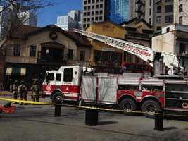 A downtown fire damaged Nola, Perle and Bruegger's Bagels in Pittsburgh's Market Square.
