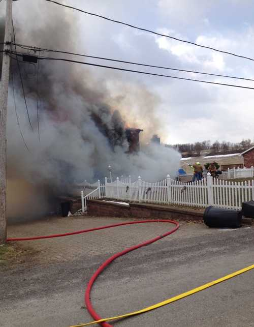 Water was brought by tanker trucks to the fire scene on General Braddock Road.