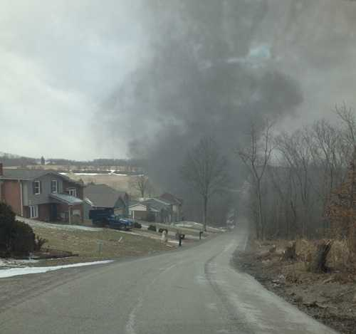 A two-story brick house in Sewickley Township, Westmoreland County, was a total loss after a fire on Thursday morning.
