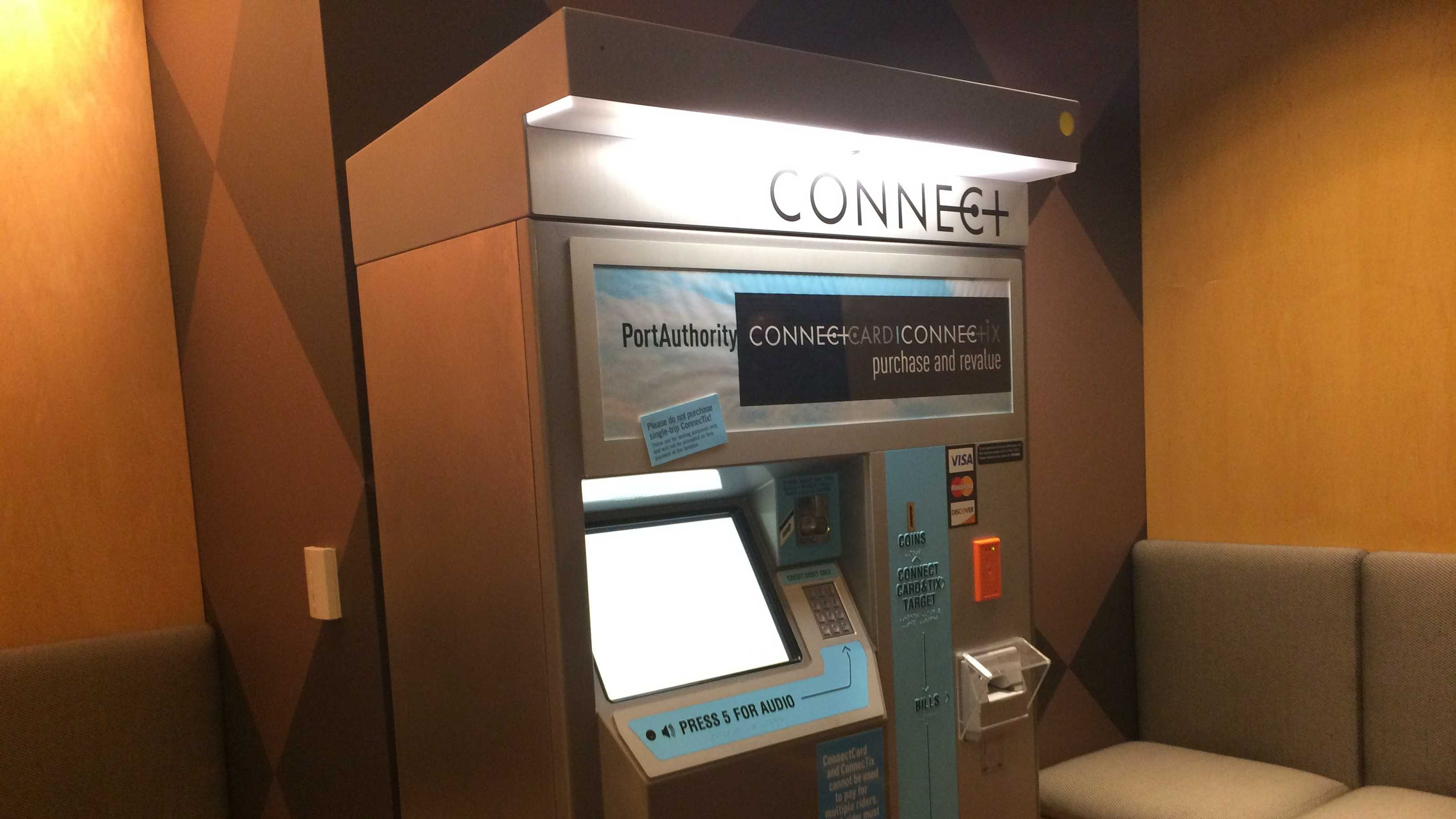 A ConnectCard can be loaded with Port Authority fare value at the machines in the downtown service center and at various T and busway stations.