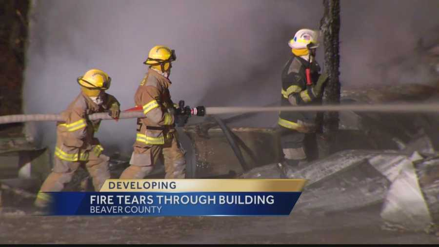Industry firefighters battle a fire at the borough's road maintenance building.