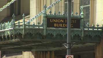 The Union Trust Building on Grant Street is a landmark in downtown Pittsburgh.