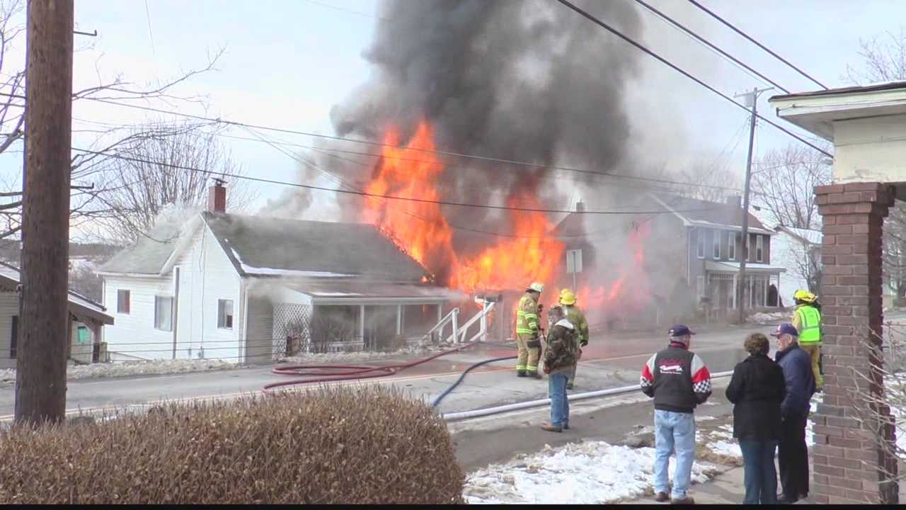 Fire sparked by tractor-trailer knocking down pole