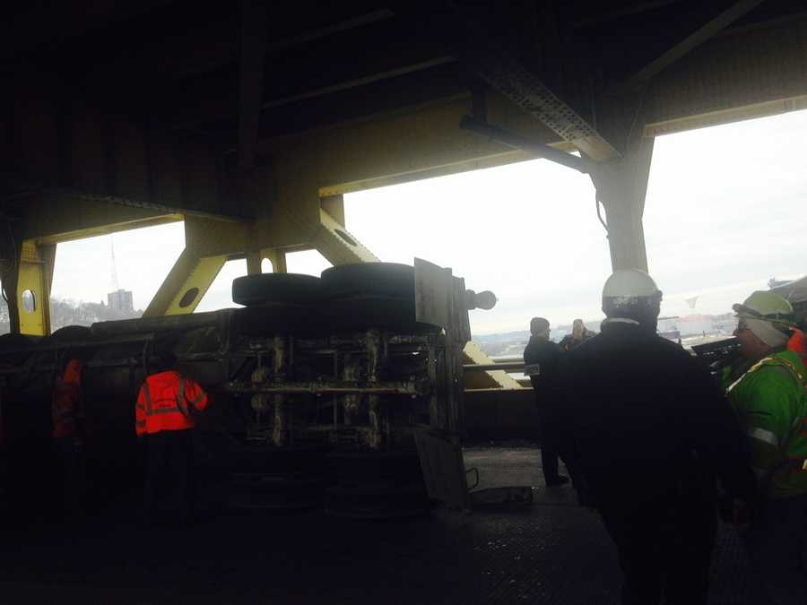 The crash happened on the lower deck of the Fort Pitt Bridge during the Wednesday morning rush hour.