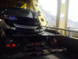 A car was damaged when the truck crashed on the Fort Pitt Bridge. Both drivers were unhurt.