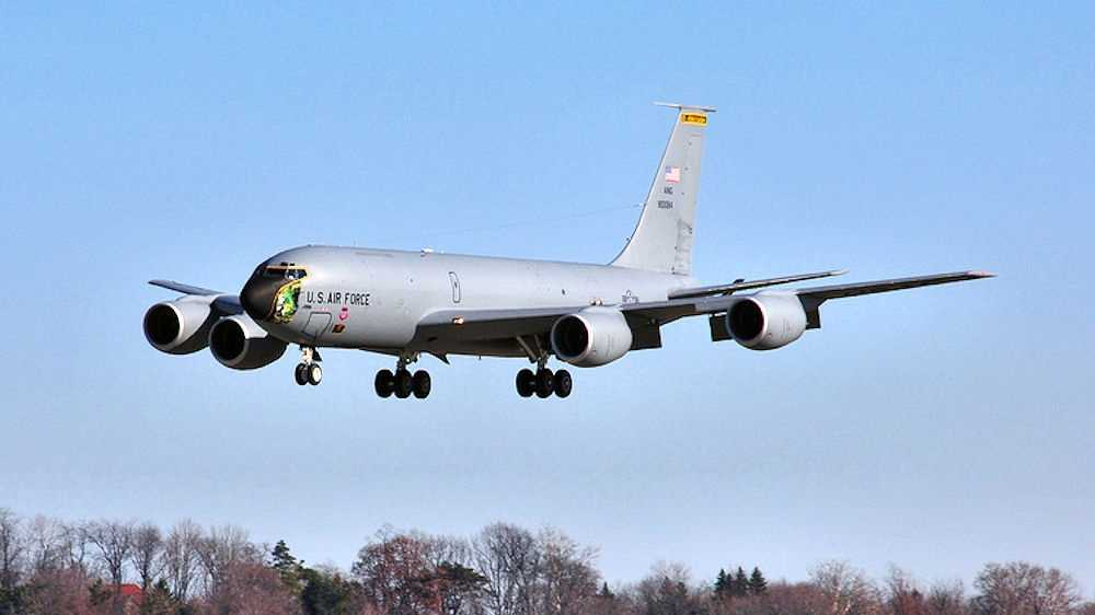 A KC-135 Stratotanker belonging to the 171st Air Refueling Wing lands at Pittsburgh International Airport.