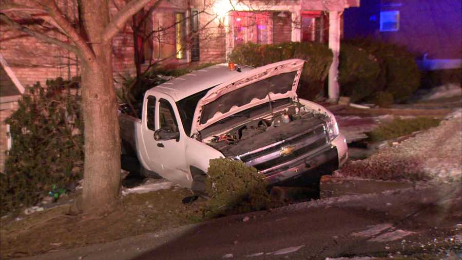 A pickup truck crashed into bushes outside a house on North Hills Road in Murrysville.