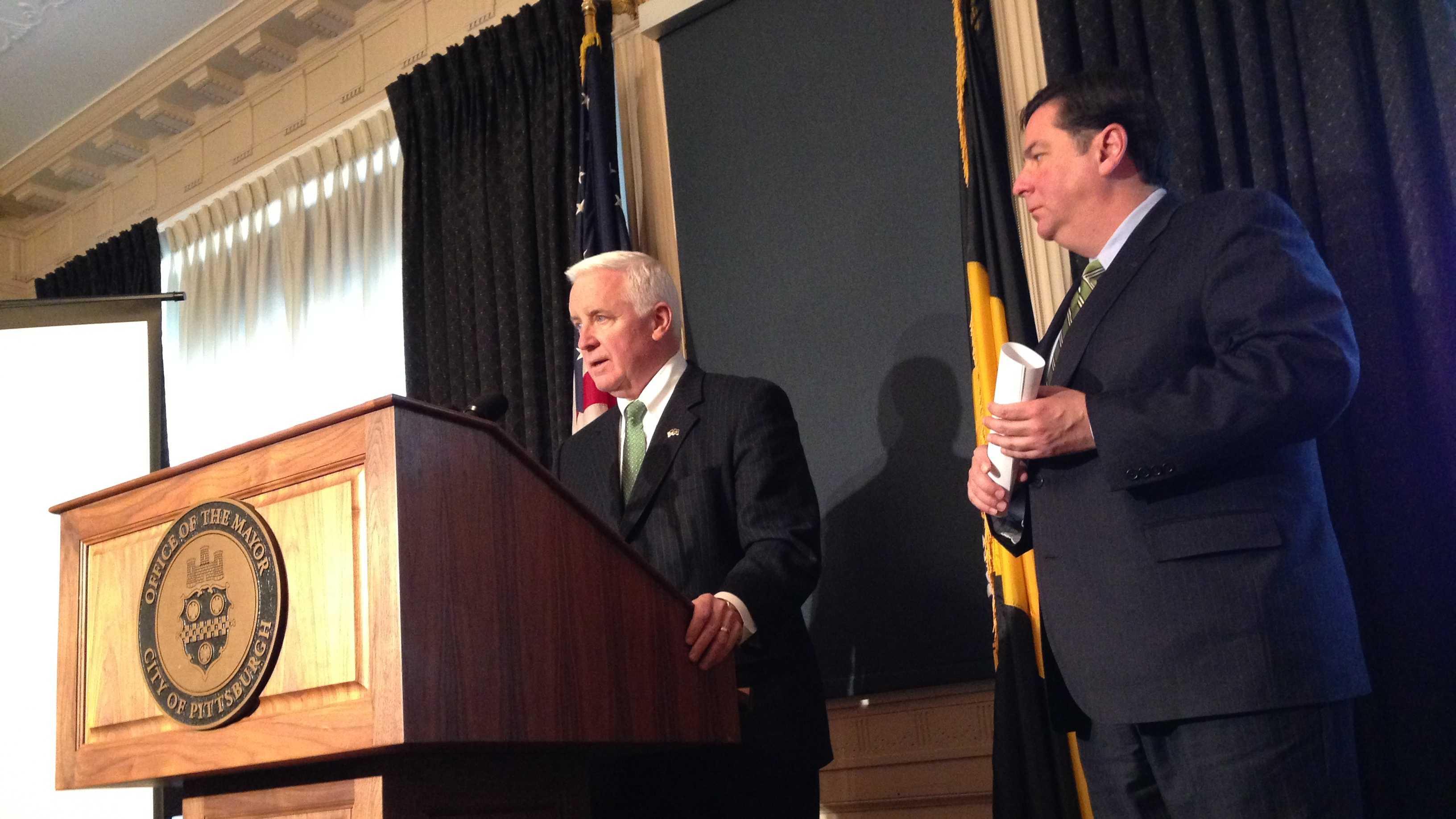 Gov. Tom Corbett and Mayor Bill Peduto