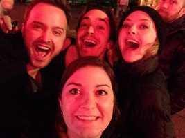 """Fathers and Daughters"" stars Aaron Paul and Amanda Seyfried took a selfie with Justin Long and @AlisonNtheBurgh at Jack's Bar on the South Side."