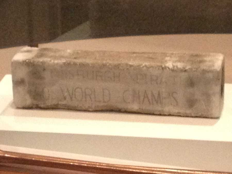 The pitching rubber from Game 7 of the 1960 World Series