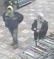 Police are asking for help in identifying a young, white man and an older, white woman who were recorded by surveillance cameras using the stolen credit cards.