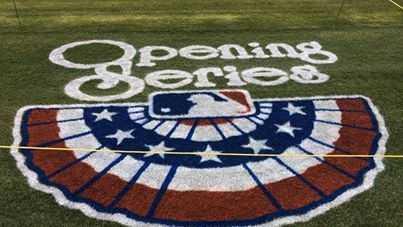 Opening Series logo on field