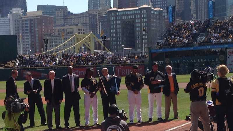 Andrew McCutchen, Pedro Alvarez and Clint Hurdle are presented with their 2013 MVP, Silver Slugger and Manager of the Year awards by Barry Bonds, Dick Groat, Jack Wilson and Jim Leyland.