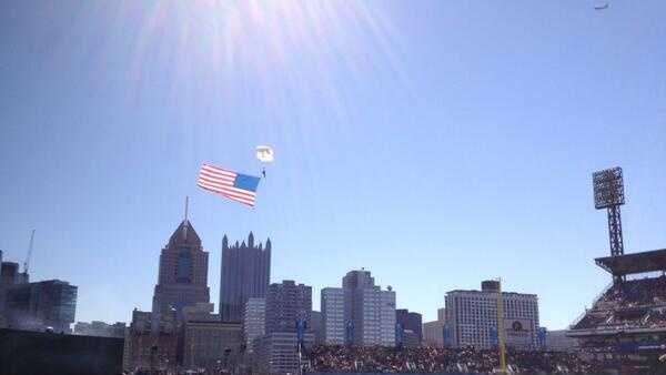 Three Parachutists brought in three flags to kick off the Opening Day of the 2014 Pittsburgh Pirates season.