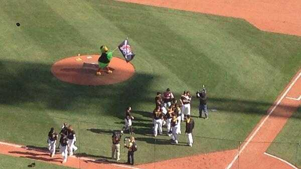 The Pirate Parrot raises the Jolly Roger after a Pittsburgh Pirates victory.