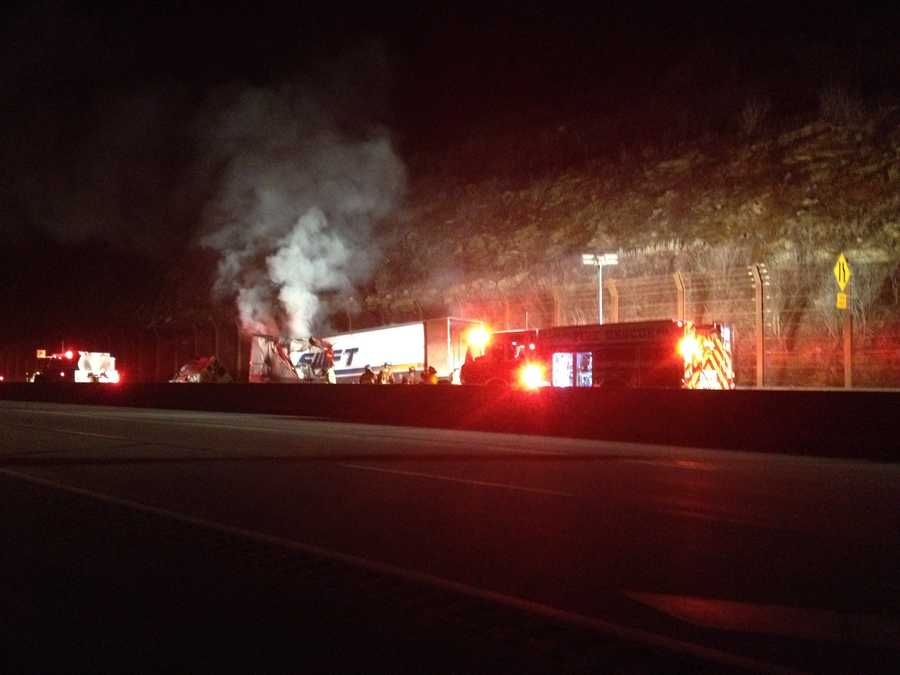 Lane restrictions began after the vehicle fire was reported at about 9:45 p.m. Monday near mile marker 100.