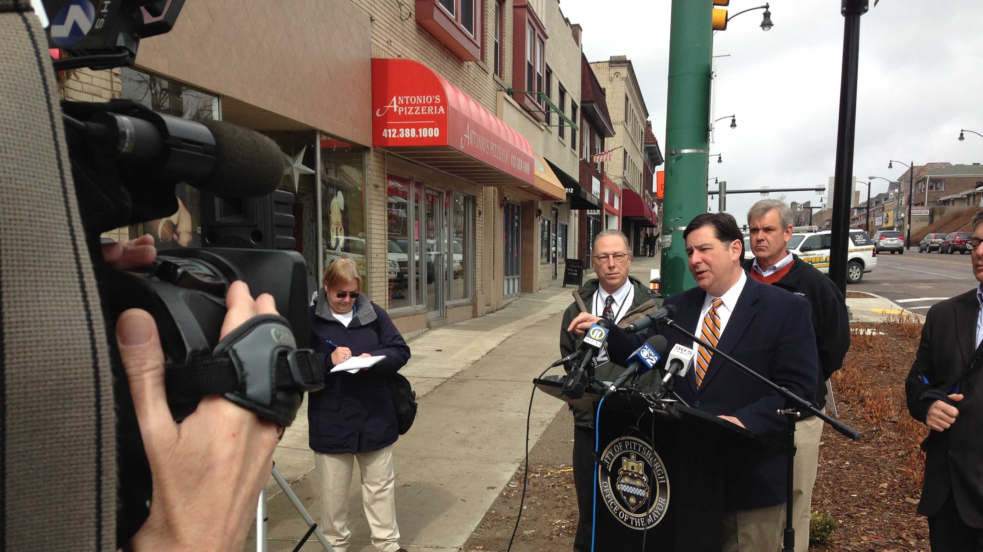 Mayor Bill Peduto held a news conference on Brookline Boulevard to discuss the city's plans for potholes and street paving.