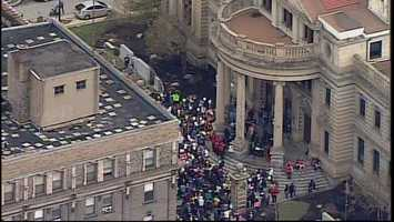 Hundreds pack South Main Street outside the Washington County Courthouse for a march against violence in honor of 10-year-old Taniyah Thomas.