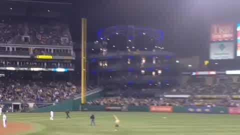 Fan tries to join pierogi race at Pirates game