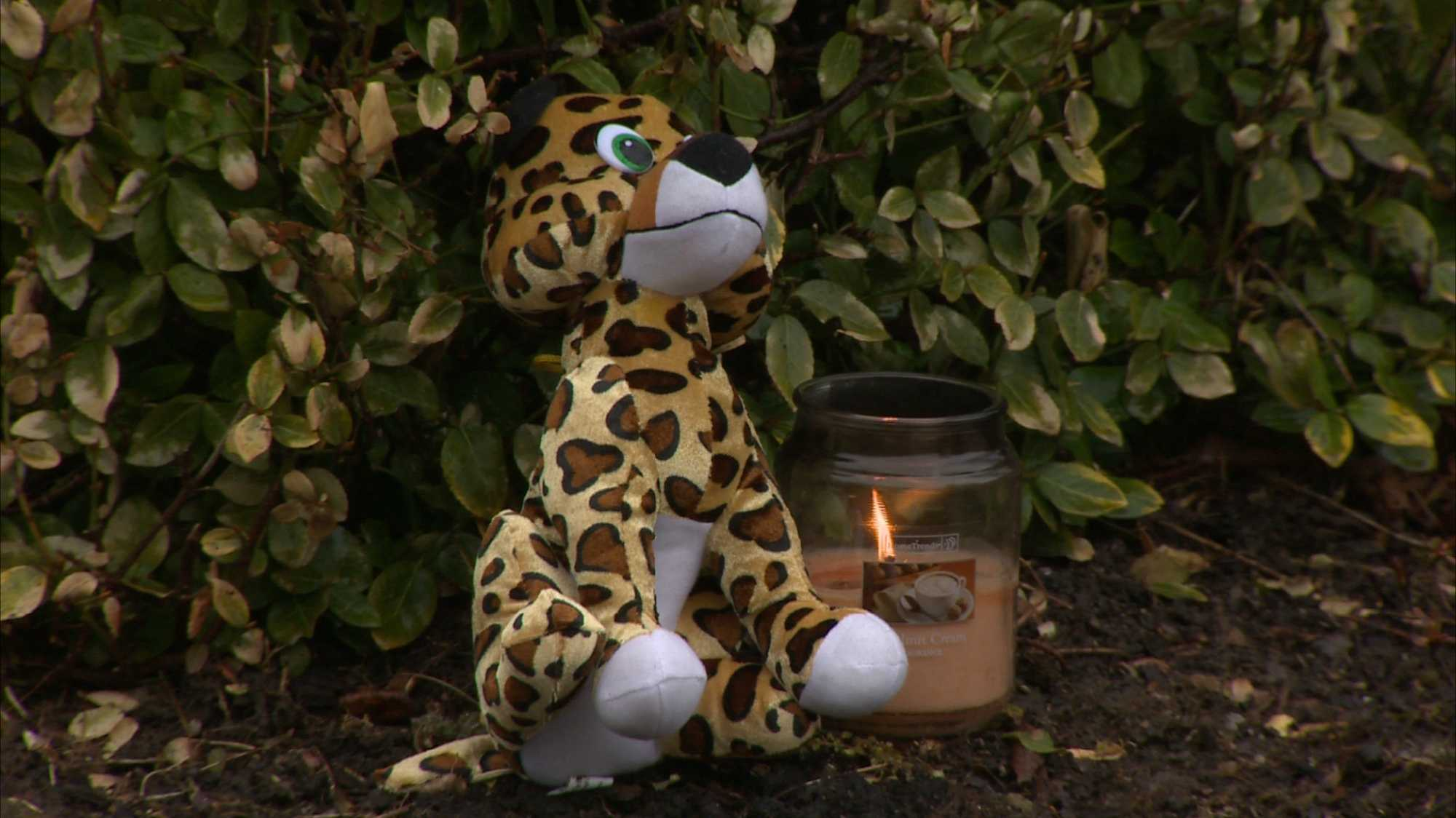 A small candle and a stuffed animal were placed outside the Schlemmer family's home in McCandless.