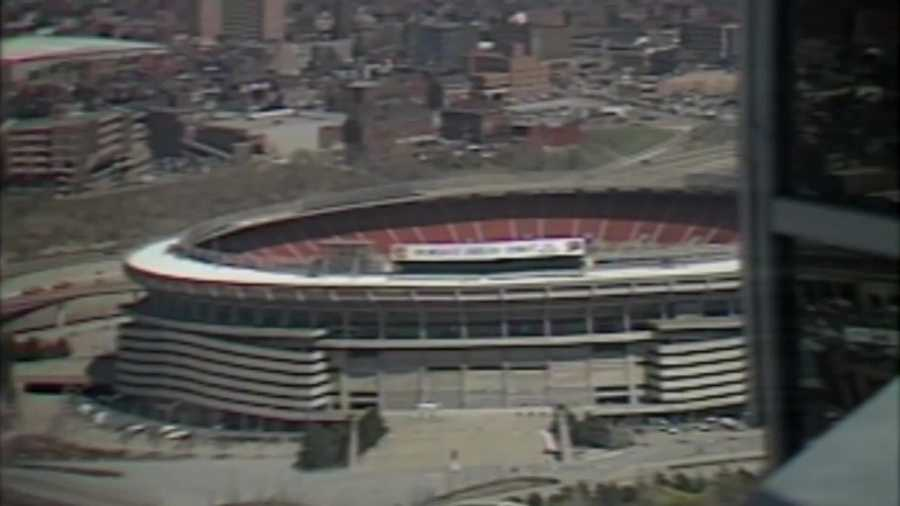 Three Rivers Stadium, nearly 14 years old at the time, could be seen in the reflection of the glass at PPG Place.