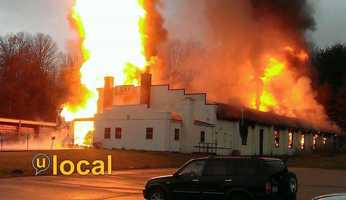 Large flames and heavy smoke were seen at CCF Industries on Route 66 in Washington Township, Westmoreland County.