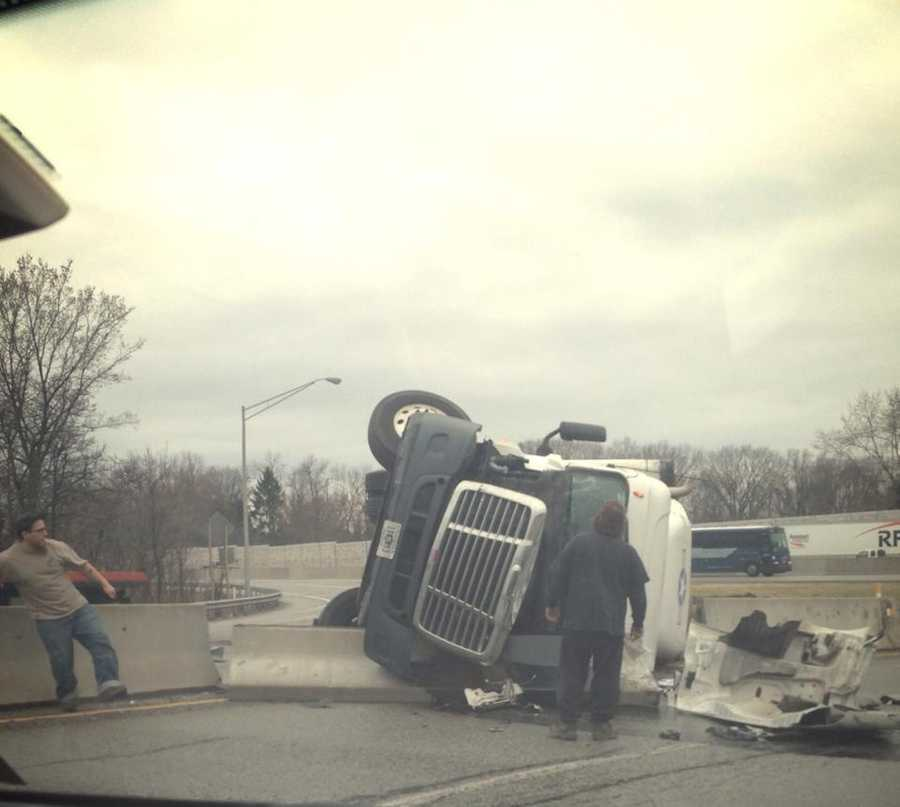 A tractor-trailer rolled over and crashed on the Pennsylvania Turnpike near the Irwin exit Friday afternoon. This photo was shared by WTAE Facebook fan Amy Smith Daugherty.